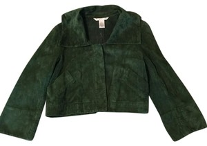 Diane von Furstenberg Suede Cropped Dvf Green Leather Jacket