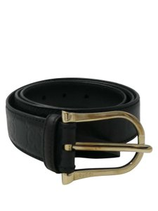 Gucci Gucci Black Guccissima Leather with Gold Buckle Sz 36 Belt