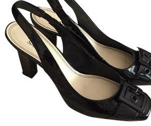 Franco Sarto Black Patent Leather Mules