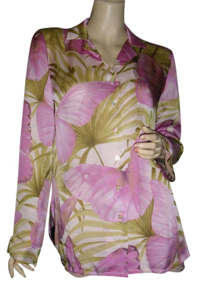 f54462a42daaf2 Tommy Bahama Pink Mauve Lavender Pure Silk Blouse Or Palm Leaves  Button-down Top