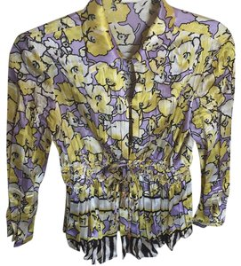 Roberto Cavalli Top Purple with yellow flowers.