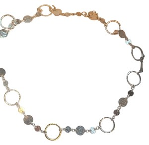 GURHAN Hoopla Necklace In Sterling Silver With 24k Gold Center Circle.