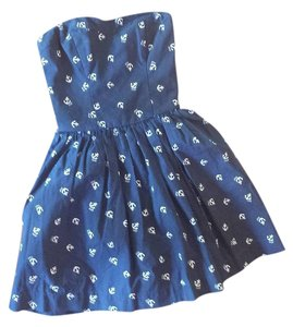 Abercrombie & Fitch short dress navy blue & white Mini Cotton Nautical Anchor on Tradesy