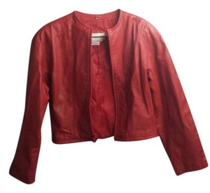 tibor Leather Zipper red Leather Jacket