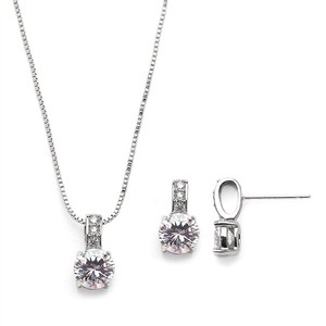 Mariell Delicate Cz Round-cut Silver Necklace And Earrings Set With Pave Top 4551s-s