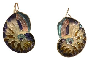 Zarah Sterling Silver And Enamel Nautilus Earrings