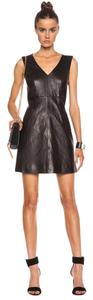 Diane von Furstenberg V-neck Sleeveless Front Slit Pockets Exposed Zip Lambskin Leather Dress