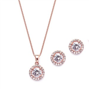 Mariell Rose Gold Gleaming Cubic Zirconia Round Shape Halo Necklace and Stud Earrings 4552s-rg Jewelry Set