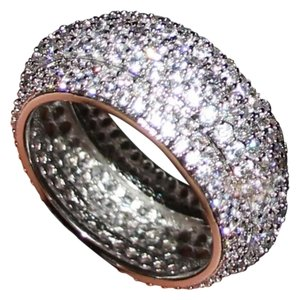 New 2ct Mega Bling Double 925 Silver Wedding Band