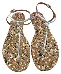 Tory Burch Marion Quilted Cork Sandals Silver Boots