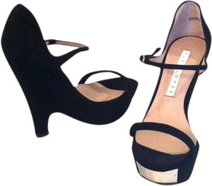 Pura Lopez Suede Black Wedges
