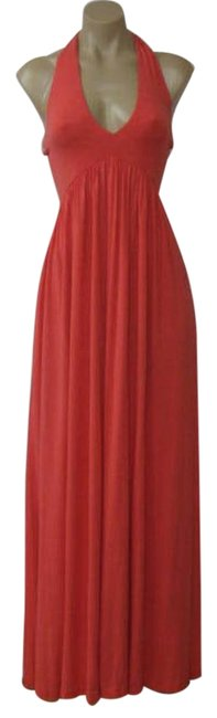 Item - Coral Sunset Halter Stretch Long Casual Maxi Dress Size 8 (M)