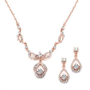 Mariell Rose Gold Vintage-style Crystal Necklace And Earrings Set 4554s-rg