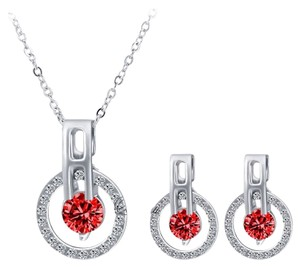 Other New Silver Tone Red Crystal Necklace Earrings Set J2978