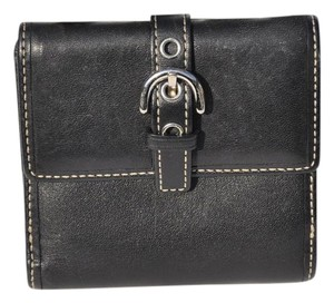 Coach Coach Classic Black Leather Coin/Credit/Bill Wallet