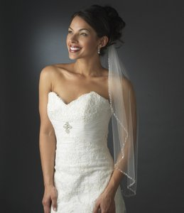 Elegance By Carbonneau Ivory Elbow Length Beaded Bridal Veil V119