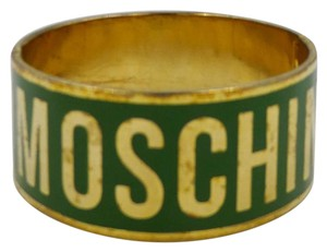 Love Moschino Love Moschino Green Enamel and Gold Logo Cuff Bracelet