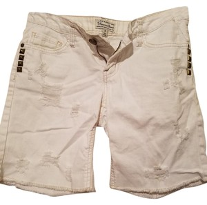 I Love H81 Studded Cut Off Shorts White