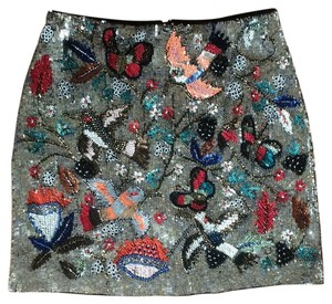 Alice + Olivia Mini Skirt Silver/Multicolored