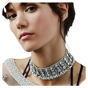 New Stunning Bohemian Vintage Silver Crystal Choker Necklace