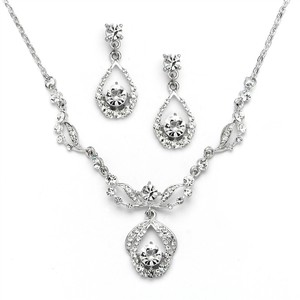 Mariell Silver Vintage Crystal Necklace and Earrings - Antique Plating 4554s-s Jewelry Set