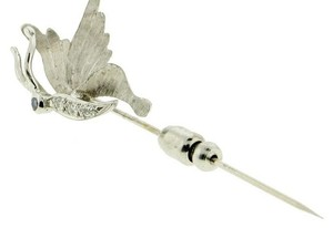 Designer 14k White gold Diamond & Sapphire eye Butterfly stick pin
