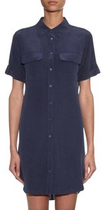 Equipment short dress navy Shirt Silk Signature on Tradesy