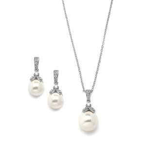 Mariell Silver Pearl Necklace Set With Vintage Cz 3045s-rg
