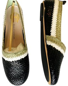 House of Harlow 1960 Leather Woven Boho Luxe Black, Mint, White Flats