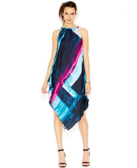 Item - Multicolor Sleeveless Colored Print Halter Mid-length Work/Office Dress Size OS (one size)