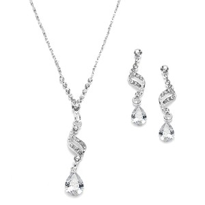 Mariell Silver Dainty Necklace Earrings with Cz Teardrops 3668s Jewelry Set