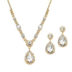 Mariell Gold And Clear Rhinestone Necklace & Earrings Set For Prom Or Bridesmaids 4144s-cr-g