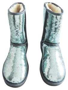 UGG Australia Classic Short Sparkles Sequin Dolphin Blue Boots