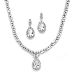 Mariell Regal Cz Bridal Necklace And Earrings Set With Marquise & Pear Shaped Drop 4240s