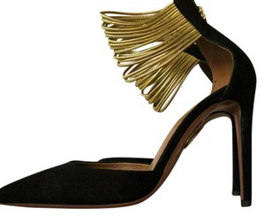 Aquazzura Suede Heels Gold Black Pumps