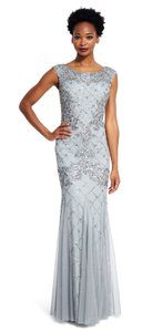 Adrianna Papell Beaded Godet Gown Trumpet Cap Sleeve Dress