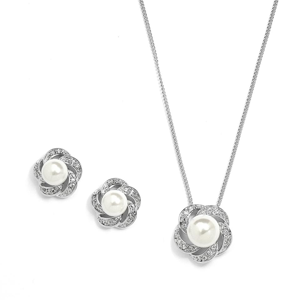 e11d599f0 Mariell Pearl Ivory Cubic Zirconia Or Bridesmaid Necklace Earrings 3991s Jewelry  Set
