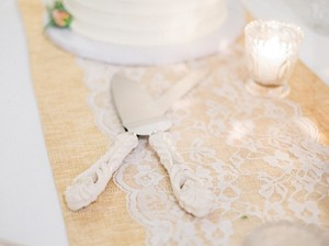 Gold Table Runners With Chantilly Lace