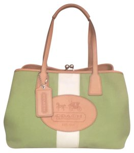 Coach Travel/weekend Canvas/leather Vintage Handbag Satchel in Green/White