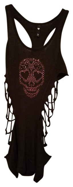 Item - Black Skull Cut Out Sides Tee Shirt Size 4 (S)