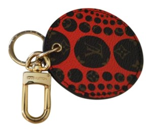 Louis Vuitton LOUIS VUITTON Kusama Red Pumpkin Dot Bag Charm Key Chain EXCELLENT