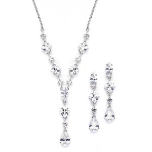 Mariell Silver Princess Pear Cubic Zirconia Necklace Earrings 3564s Jewelry Set