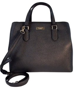 Kate Spade Evangeline Laurel Way Leather Satchel in Black