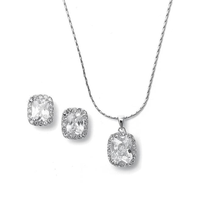 Item - Silver Cz Cushion Cut Bride Or Bridesmaid Necklace 262s-cr Jewelry Set