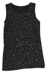 Ann Taylor LOFT Sleeveless Tank Polka Dot Office Suiting Top Black