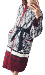 Zara Coat Aztec Red Cardigan black Jacket