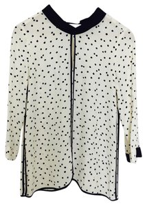 Zara Polka Dot Preppy Casual Classic Feminine Top black white