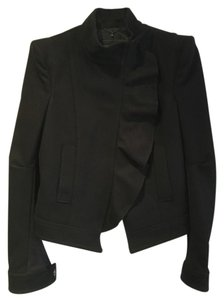 BCBGMAXAZRIA Wool Asymmetrical Structured Cashmere Chic Black Jacket