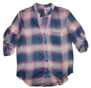 Xhilaration Button-down Oversize Top Purple, Blue, Teal, Ivory