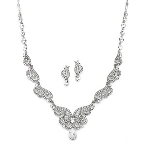 Mariell Silver Art Deco Bridal Necklace & Earrings Set With Crystal Scrolls 4181s-s